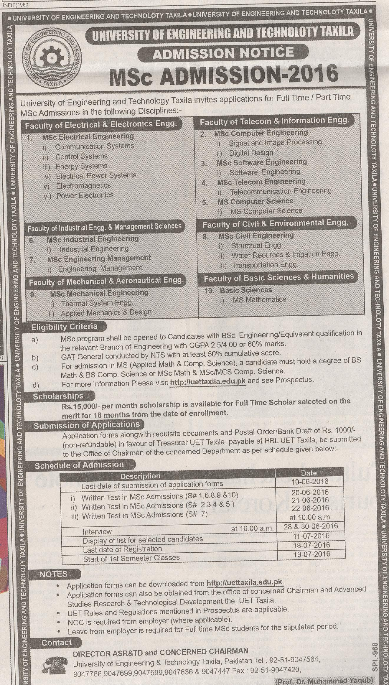 University of Engineering Technology Taxila Admission 2016