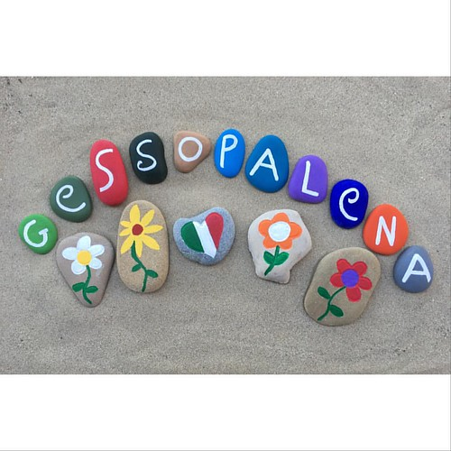 Gessopalena, Abruzzo, Italy - souvenir on colored stones - the picture of your name on stones price 1,3 euro reservation yournameonstones@gmail.com Thanks for a like www.facebook.com/yournameonstones
