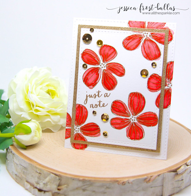 Red and Gold Layered Florals