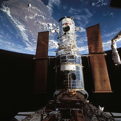 Hubble Space Telescope Berthed in Endeavour's Payload Bay after Capture