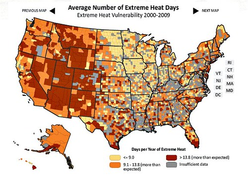 heat vulnerability in the US (by: NRDC)