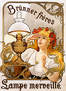 Art Nouveau Lady with Lamp Poster