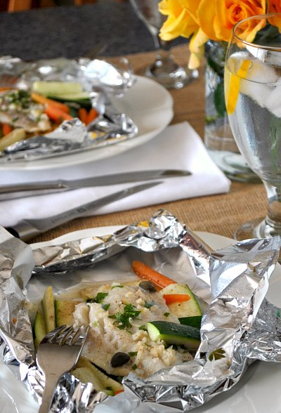 Quick baked cod foil packets for Fish foil packets oven