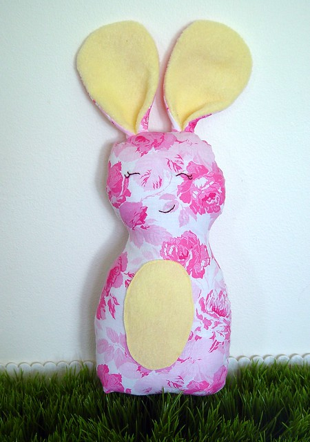 Lovley Lil Bunny, vintage flowers with yellow