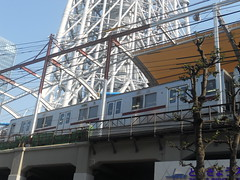 Train at Base of Sky Tree