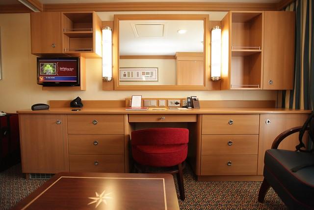 Day 1: Oceanview Stateroom desk
