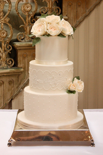 wedding cake with lace and flowers ivory and lace wedding cake flickr photo 26909