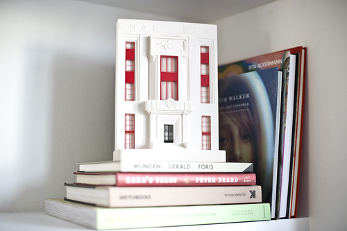 Arsenal Stadium model on book shelf