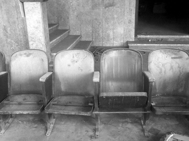 The ancient chairs of the old cinema