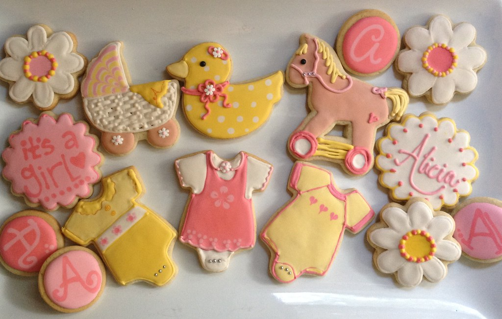 cookie cowgirl pink and yellow baby shower