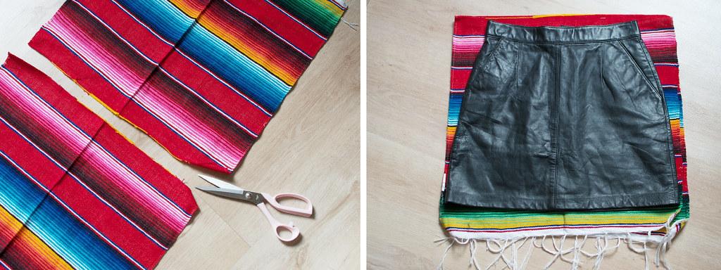 diy mexican rug skirt proces