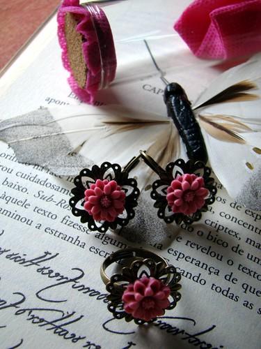 anel e brincos rosa by kideias - Artesanato