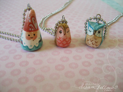 NOM and owlet necklaces