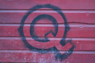 Spray-painted Q on the side of Nancy's Bar-B-Q Sarasota