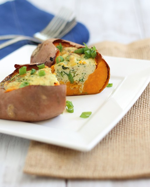 Sweet potatoes stuffed with eggs and cheese