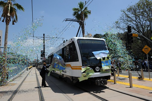 Expo Line Phase I Opening: First car through the banner