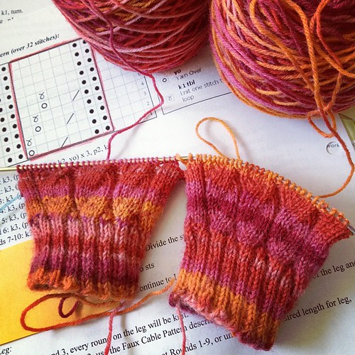 This pattern is called Faux Cable Rib Socks by Jen Hansen (it's on Ravelry). Yarn is Berroco Sox. #socks #knitting #photoadaymay #sockknitting