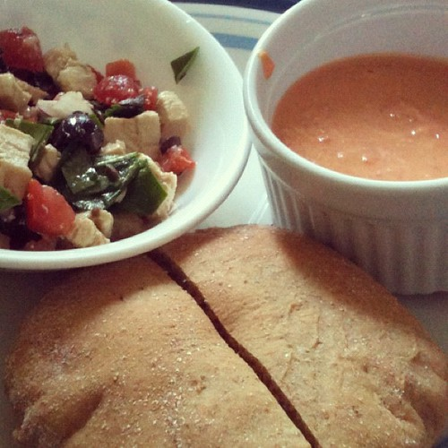 Homemade pita, homemade red pepper hummus, homemade chicken salad. Awesome!
