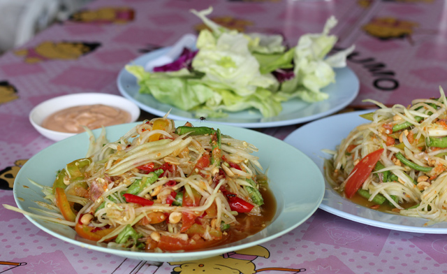 Big fresh plates of green papaya salad