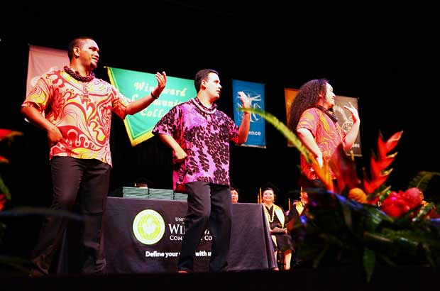 <p>Windward CC students Pu'u Zablan, Kaulana McCabe and Hawaiian language instructor Kalani Kuloloia perform a salute to the graduates (photo by Bonnie Beatson)</p>