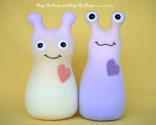 Rainbow Hug Me Bug and Hug Me Slug, original art toys by Elizabeth Ruffing