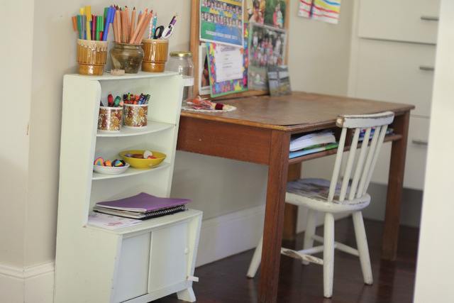 Little Eco's desk in the corner of our kitchen
