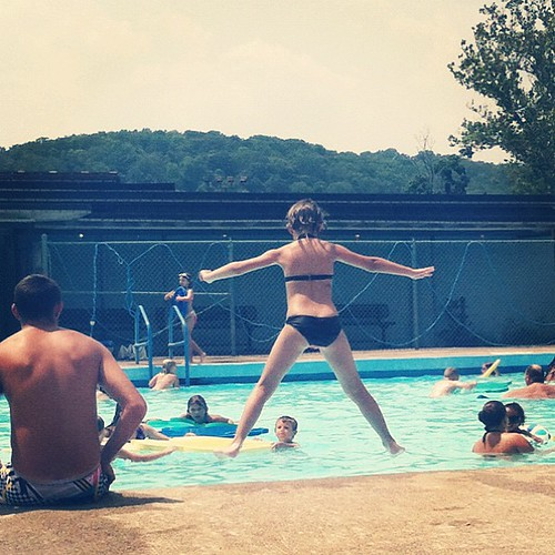 Go ahead and JUMP! #hannah #pool #swim #water #instagood