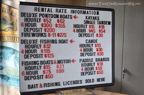 Tally's Dockside Boat Rental Rates 2012 ~ White Bear Lake, MN