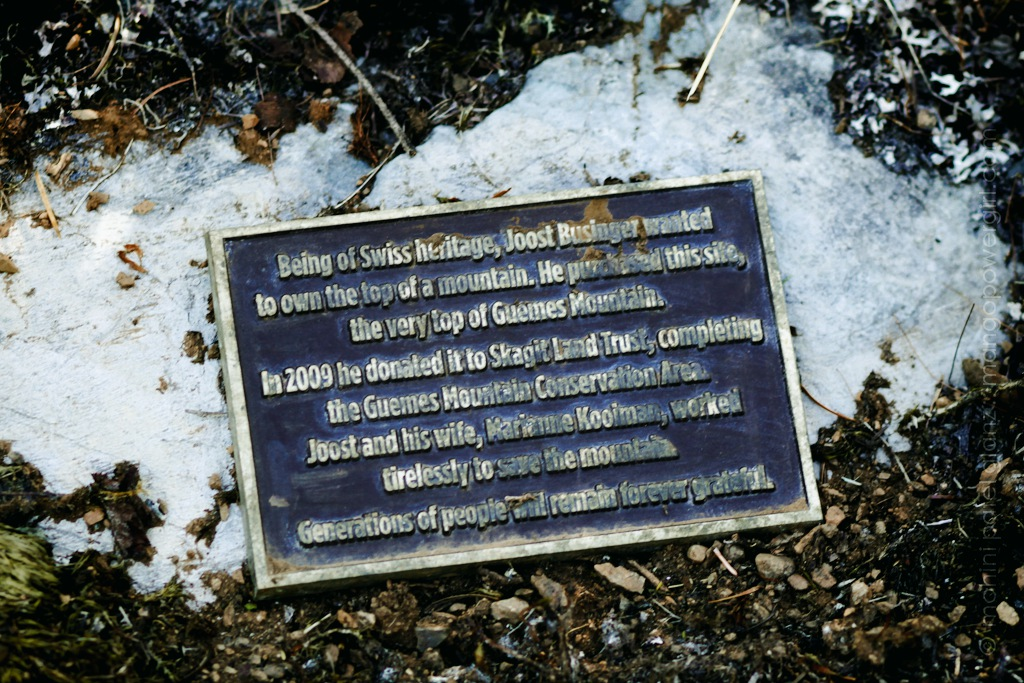 dedication plaque on top of guemes mountain