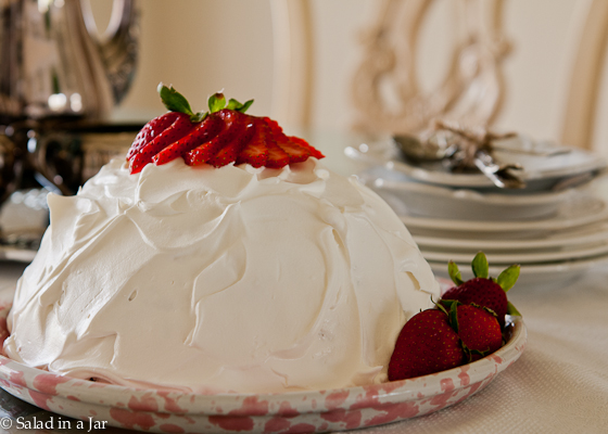 Strawberry Snowball Cake - unsliced