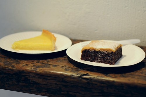 Lemon Curd Tart & Brownie with Salted Caramel Icing