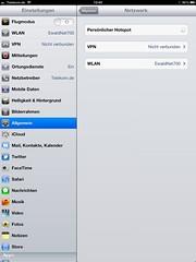 Persönlicher Hotspot (Apple iPad): Einstellungen > Netzwerk