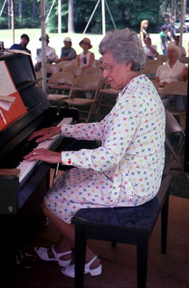Lillian Kalikow playing piano during vaudeville show at the Florida Folk Festival: White Springs, Florida