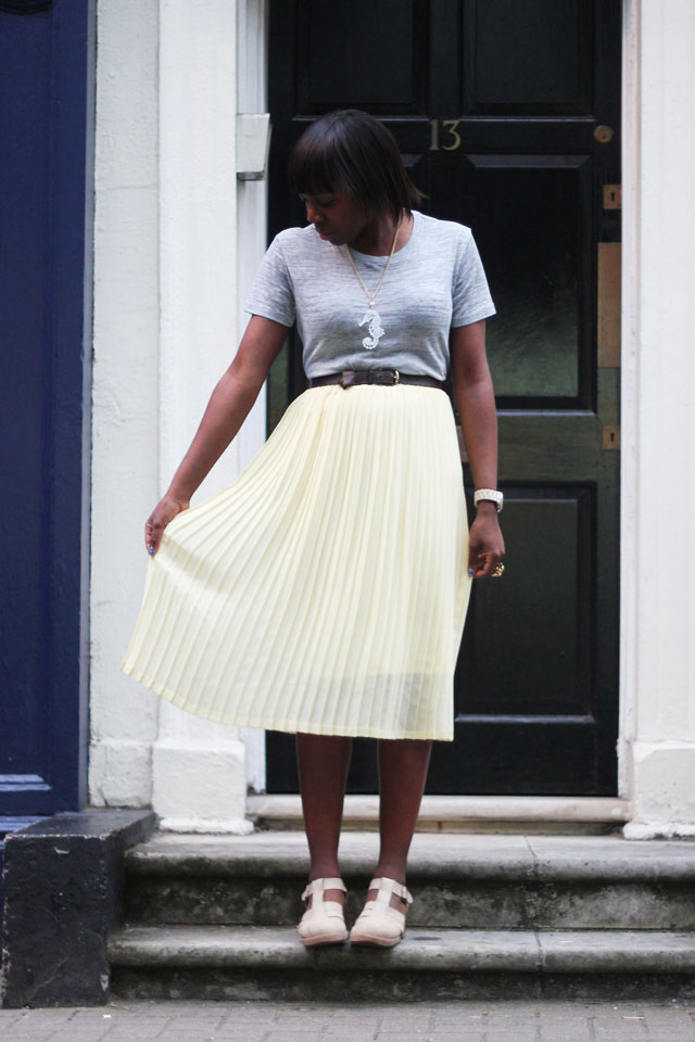new look pastel yellow pleated midi skirt