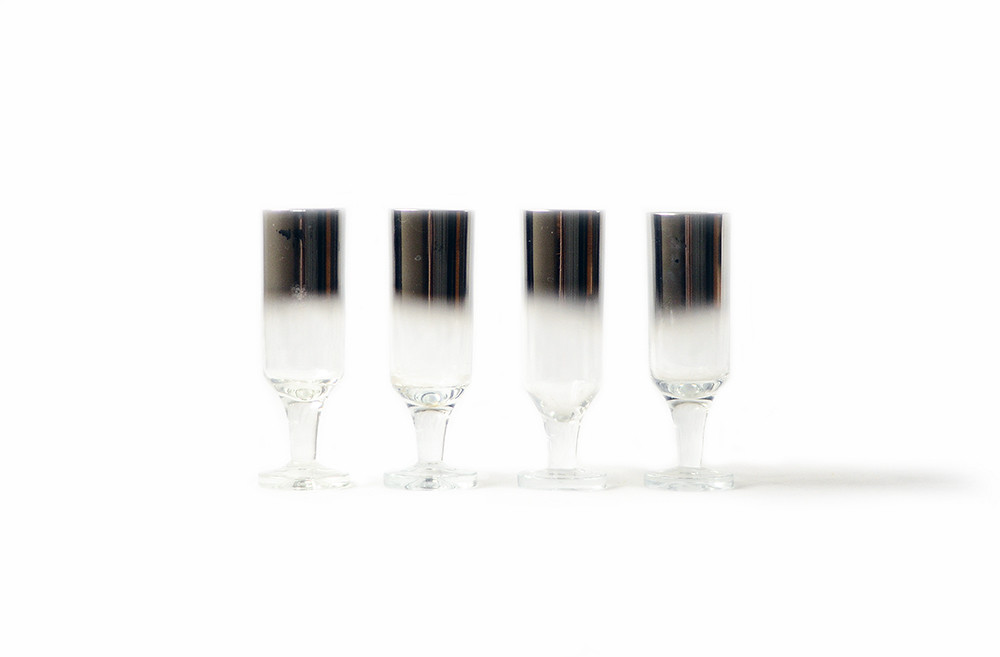 Four Vintage Silver Ombre Shot Glasses