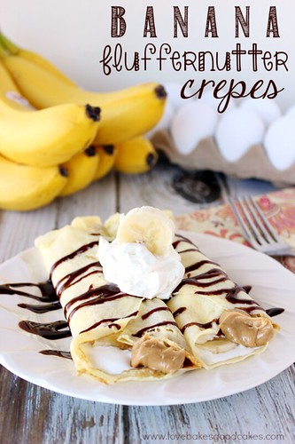Banana Fluffernutter Crepes on a white plate with bananas and eggs in the background.