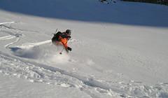 Zjazd z przełęczy dell Angelo (3337m) - Tomek (ja)