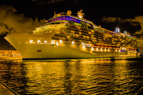 Celebrity Silhouette at night — Docked at Pier 3 in San Juan, Puerto Rico