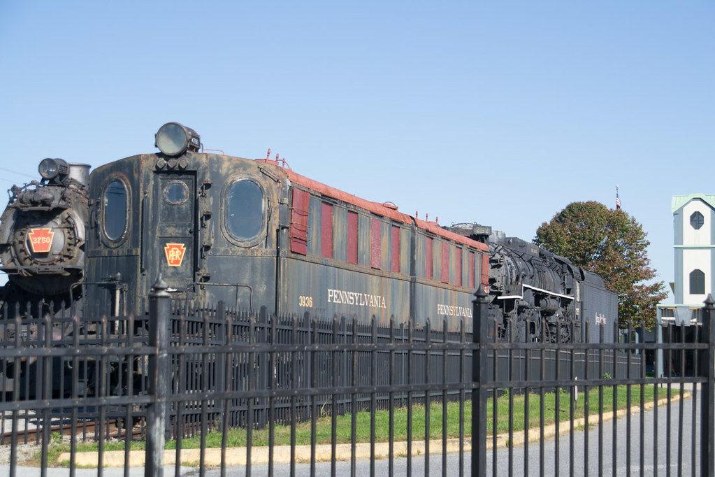 Outdoor train display at Pennsylvania Railroad Museum