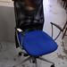 Black mesh swivel blue seat fabric