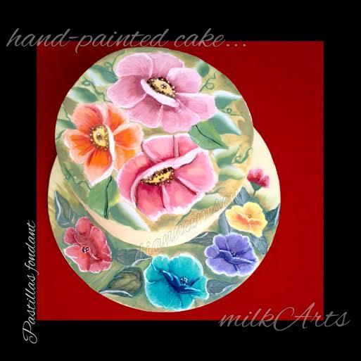 Hand-Painted Milk Fondant Cake by Dianne Imson