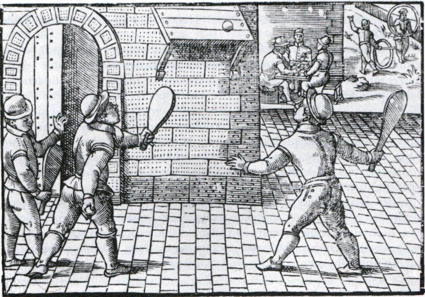 "Copper engraving of a game of Tennis in France, in the 16. century. From the series ""Children games"". Bibliothèque Nationale, Cabinet des Estampes, Paris."