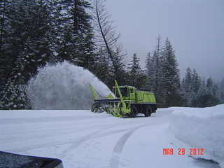 Snowblower clearing the highway