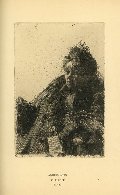 Anders Zorn.  Portrait.  Original etching.  Berlin, 1895.  Pan. Vol. I, no. 2.