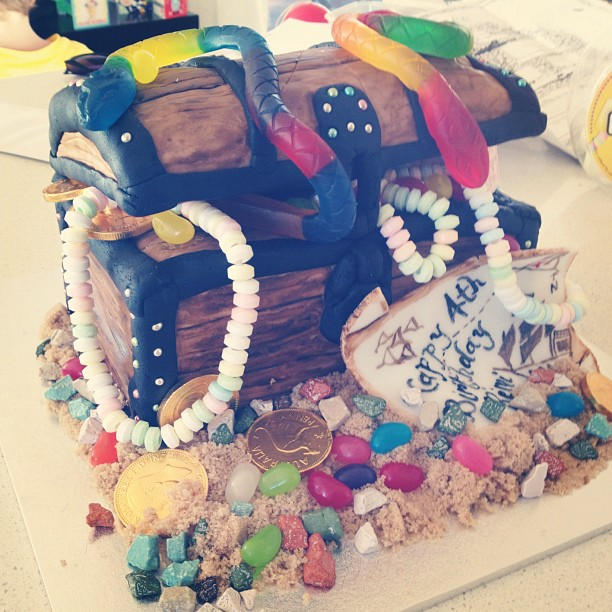 I made this treasure chest cake for the finale of birthday week.