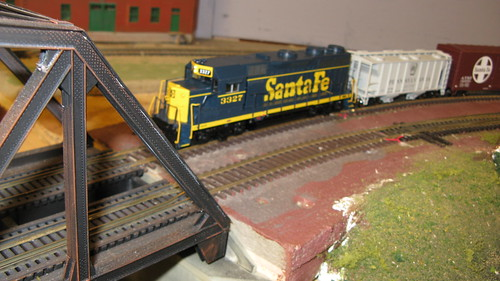 Eddie K's 1960's and 70's era Santa Fe freight train entering the swing bridge. by Eddie from Chicago