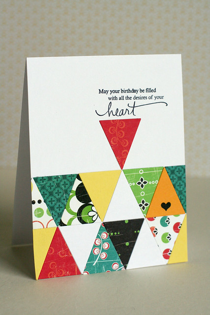 Triangle quilt birthday card PTI banner die_2