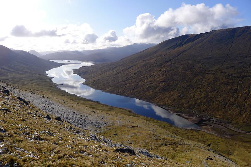 Cloud reflections in Loch Monar
