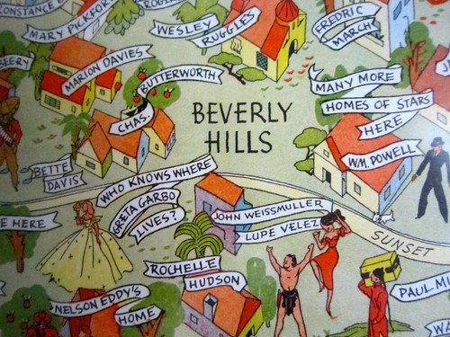 The retro roadcouple is california bound retro roadmap for Beverly hills celebrity homes map