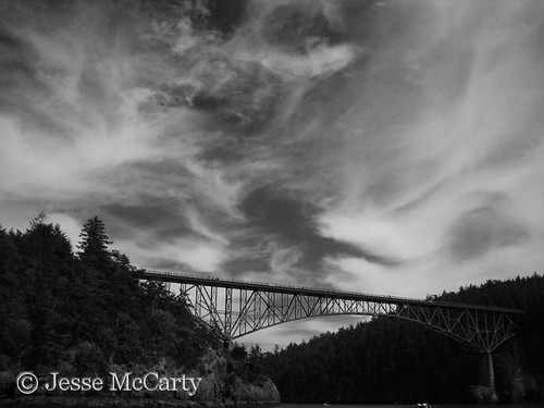 Deception Pass Bridge in Black and White